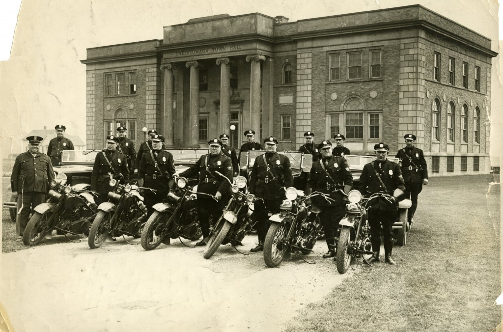 Review of Motorcycle Police - 1930s - in Front of Town Hall